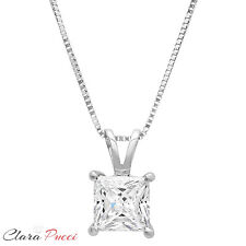 """1.0Ct Princess Cut 14K White Gold Solitaire Pendant Necklace Box With 16"""" Chain"""