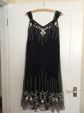 @PER UNA@ M&S Black White Embroidered Floral Flapper Dress Size 14 Exc. cond.
