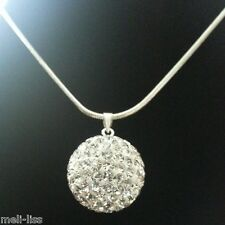 925 Silver Shamballa White Czech Crystal Pendant-Necklace & 925 Silver Chain