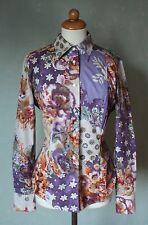 ETRO Milano Bluse Shirt Blumen Motiv Ethno Boho lila orange braun Gr 40 L (S45)