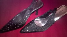 Fiore Collection Black crystal Sling back party shoes size 4