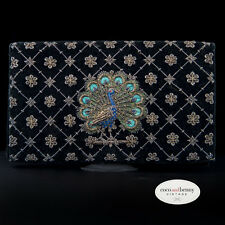 Vintage 40s Velvet Metal Embroidered PEACOCK Clutch - Indian Zardozi Purse