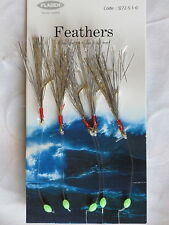 6 Packs Silver Flash 5 hook size 1/0 fishing mackerel feathers lures sea pollack