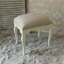 Cream Padded Stool Fabric Lace edging Wooden Dressing Table Seat Chair Bedroom