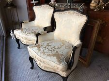 Quality Pair of French Louis XV Style Vintage Bergere Arm Chairs