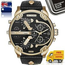 NEW DIESEL MENS WATCH MR.DADDY 2.0 OVERSIZE GOLD BLACK DIAL LEATHER STRAP DZ7371
