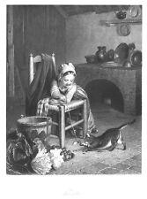 """Katze und Mädchen, """"Tändelei"""", Original-Stahlstich von ca. 1850"""