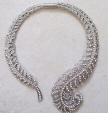 1940 style art deco crystal feather wedding choker bride statement necklace