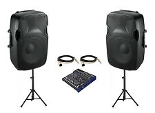"""2 x Ibiza Sound 12"""" Active XTK12A 1000W Speaker PA System Package inc Mixer"""