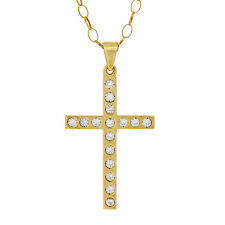 """BEAUTIFUL 9CT YELLOW GOLD STONE SET CROSS WITH 20"""" OVAL BELCHER CHAIN"""
