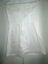 Ladies Factorie Size M White Fitted Bodice Dress Pure Cotton