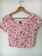 H&M Stretch Pink Floral Size M 14 Cotton Mix Short Sleeve Top  T5677