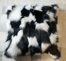 GENUINE BEAUTIFUL BLACK & WHITE WINTER FOX FUR 50CM SQUARE CUSHION COVER