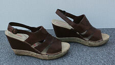 NEW Hush Puppies Brown Leather Wedge Sandals Size 6/39