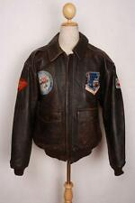 Vtg AVIREX A-2 USAAF Patched Flight Leather Jacket Small/Medium