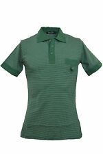 "Mens 60s Retro Indie Mod Emerald & White Striped Skinny Fit Polo Top 34"" Chest"