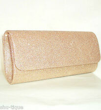 NEW WOMENS CHAMPAGNE GOLD SHIMMER GLITZY PARTY PROM CLUTCH SHOULDER BAG LADIES