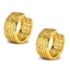 Elegant 18ct Gold Filled Filigree Classic Hoop Earrings Womens Ladies
