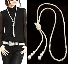 Women Fashion Imitation Pearl Long Necklace Sweater Chain Charm Party Gift 1 row