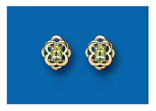 9K Yellow Gold Real Peridot Celtic Stud Earrings - British Made - Hallmarked