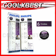 2 x PHILIPS 6 OUTLET SURGE PROTECTION POWER BOARD w ON /OFF SWITCH TV AV OFFICE