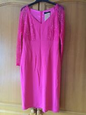 New Holly Willoughby Pink lace sleeved wiggle, pencil Dress UK 14