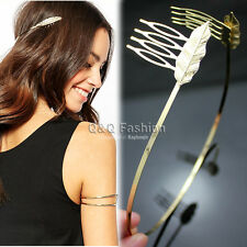 Roman Gold Leaf Feather Dainty Hair Crown Head Dress Alice Band Comb Bridal H8
