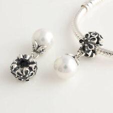 Sterling Silver 925 European Cubic Zirconia & Pearl Dangle Bead 4 Charm Bracelet