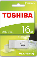Toshiba 16GB USB 2.0 Flash Stick Pen Memory Drive - White