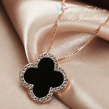 18K Rose Gold Plated Simulated Diamond Stylish Black Four Leaf Clover Necklace