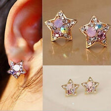 New Fashion Women Gold Plated Star Earrings Rhinestone Crystal Elegant Ear Studs