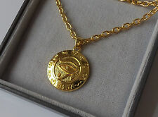 """Gold Plated Egyptian Eye of Horus Pendant Necklace 24"""" Chain."""