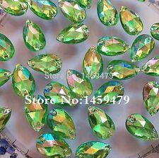 50 pcs x Sew On 7x12 mm Acrylic Rhinestones Green AB Color Teardrop Shape
