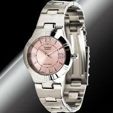 Casio LTP-1241D-4A Ladies Pink Analog Watch Steel Band with Date Display New