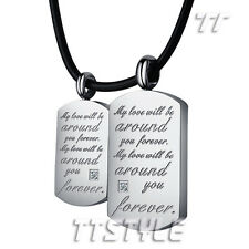 TT Stainless Steel Love Dog Tag Pendant For Couple Two Free Chain (NP217)