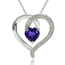 Sterling Silver 1.5ct TGW African Amethyst & White Topaz Heart Necklace