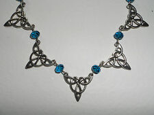 """CELTIC STYLE PEACOCK TURQUOISE GLASS CRYSTAL SILVER PLATED COLLAR NECKLACE 16"""""""