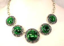 Collier Halskette Kette Grün Malachit stein Lang 45 cm silberfarben