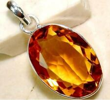 18CT Golden Citrine Solid Sterling Silver Pendant :Hallmarked 925