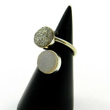 Adjustable 925 Sterling Silver Shiny Druzy Gemstone Handmade New Party Wear Ring