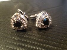 Rome Royal Silver cufflinks with dark black stone  with 18 cubic zirconias new