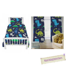 "Dinosaurs Dino Blue Childrens Single Duvet Quilt Cover Set + 66"" x 72"" Curtains"
