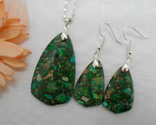 Natural sea sediment jasper gemstone jewellery silver plated necklace earrings