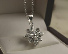 "Pretty 925 Silver Flower Clear CZ Crystal Pendant with 18"" Necklace Chain -79"