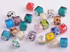 10pcs 15mm Lampwork Glass Murano European Big Hole Loose Beads Cube Square Mixed