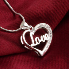 Wholesale Lady Silver Plated Love Letter Heart Pendant Necklace Chain Jewelry