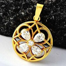 Fashion Womens Clover Crystal Pendant Yellow Gold Filled fit long necklace