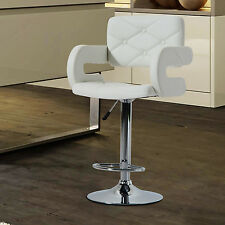 HOMCOM Swivel Bar Stool Pub Breakfast Kitchen Leather Chair Padded Seat White