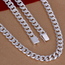 Heavy 115g 60cm  925 Sterling Silver Filled Solid Curb Link Chain Necklace N322