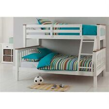 Solid Timber - Double Single Bunk Bed - 2 tone ( White w/ Walnut trim )